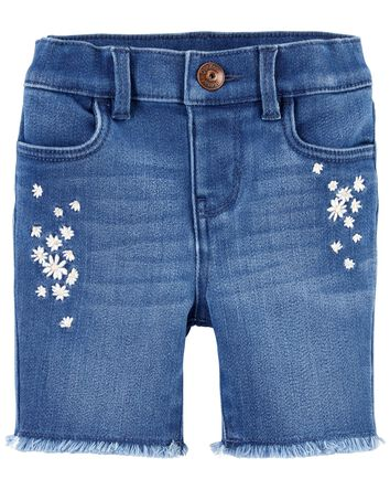 Embroidered Daisy Stretch Denim Sho...