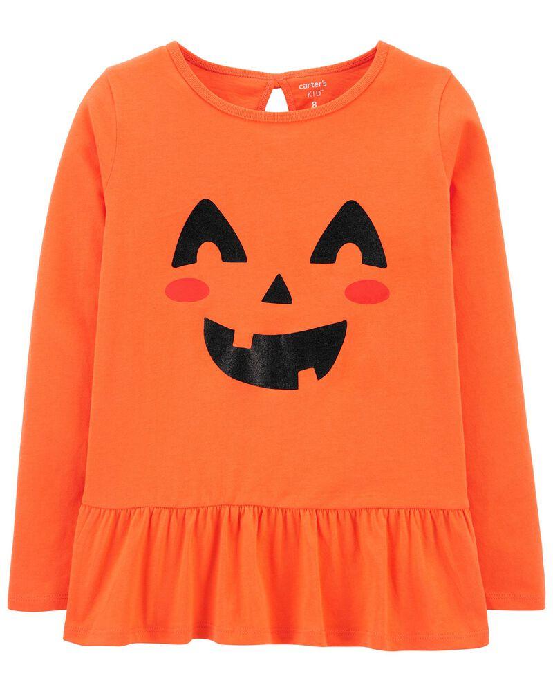 Halloween Jack-O-Lantern Peplum Top, , hi-res