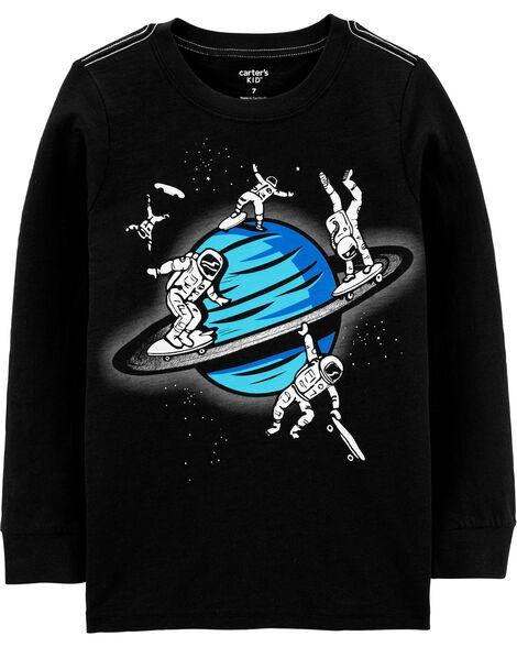 T-shirt en jersey flammé Espace