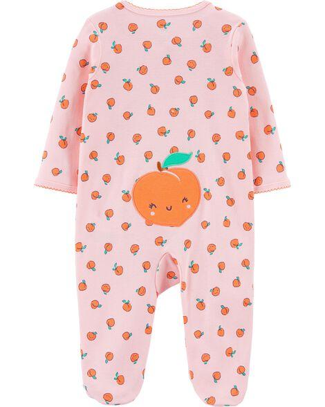 Peach 2-Way Zip Cotton Sleep & Play