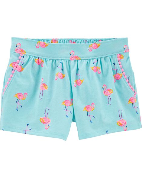 Flamingo Pom Pom Shorts