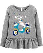 T-shirt en jersey à basque et scooter scintillant, , hi-res