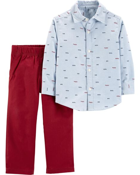 2-Piece Button-Front Top & Canvas Pant Set