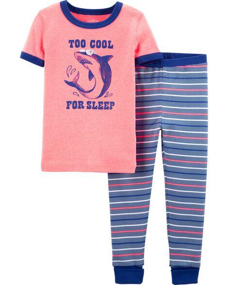 Pyjama 2 pièces en coton ajusté néon à requin