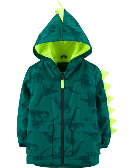 Fleece-Lined Dinosaur Rain Jacket