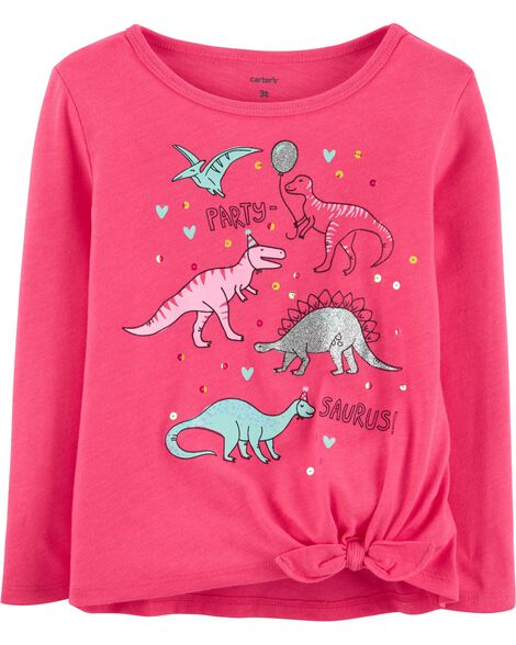 T-shirt en jersey à nœud devant et dinosaure