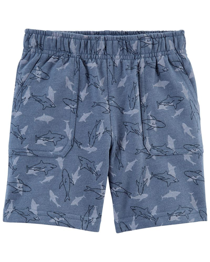 Shark Print French Terry Shorts, , hi-res