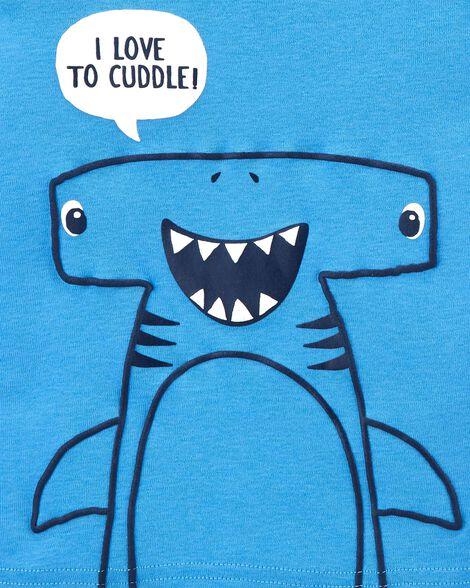 Pyjama 4 pièces en coton ajusté à requin