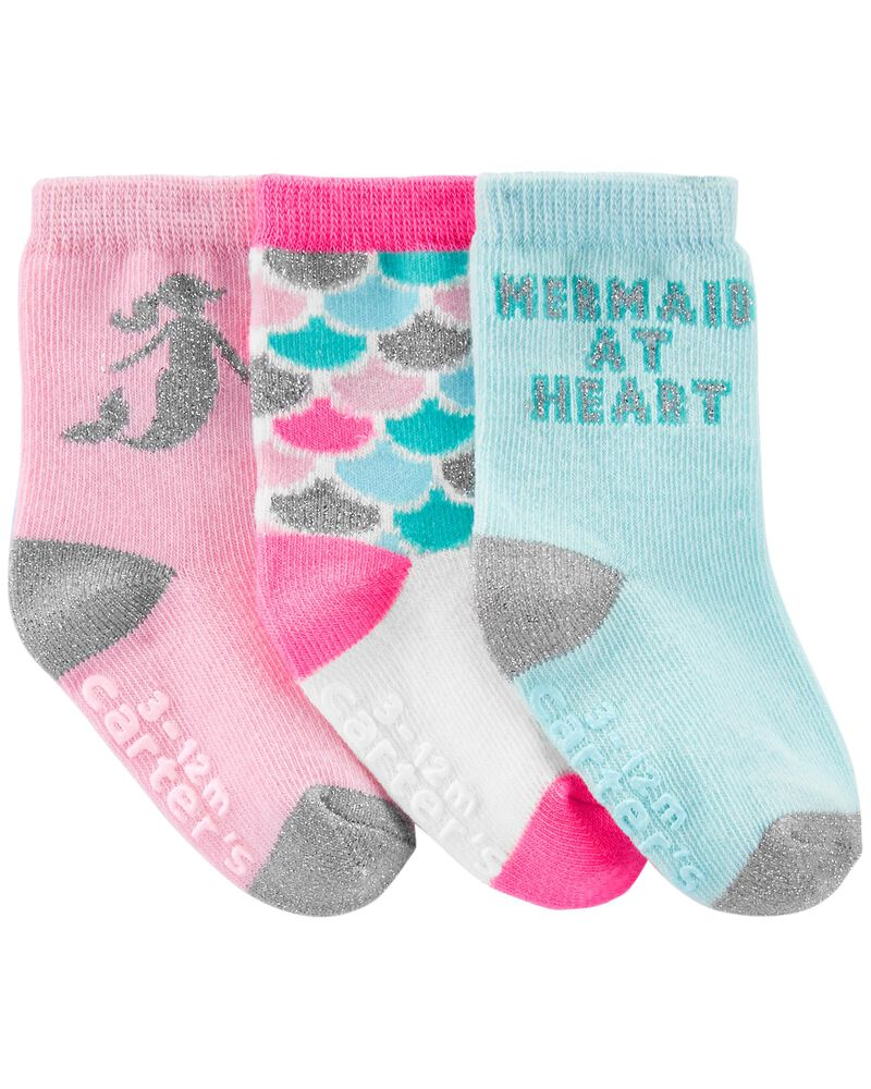 3-Pack Mermaid Crew Socks, , hi-res