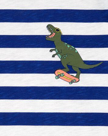 T-shirt en jersey rayé à dinosaure
