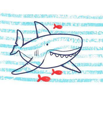 2-Piece Striped Shark Jersey Tee &...