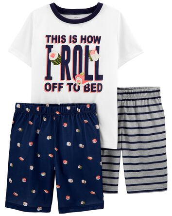 3-Piece Sushi Loose Fit Poly PJs