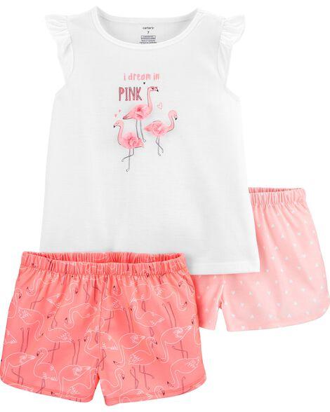 3-Piece Flamingo Poly PJs