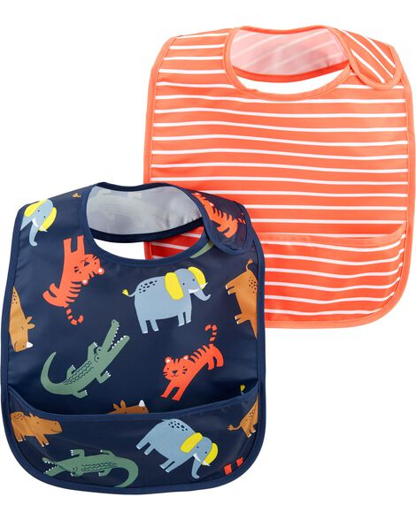 2-Pack Stripes & Zoo Animals Water Resistant Bibs