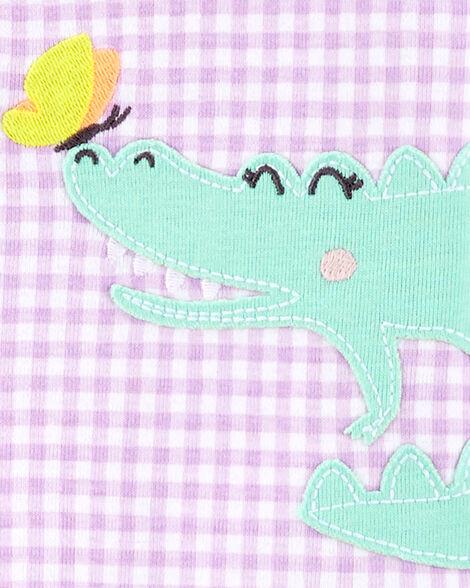 Pyjama 1 pièce à pieds en coton ajusté à motif vichy et alligator