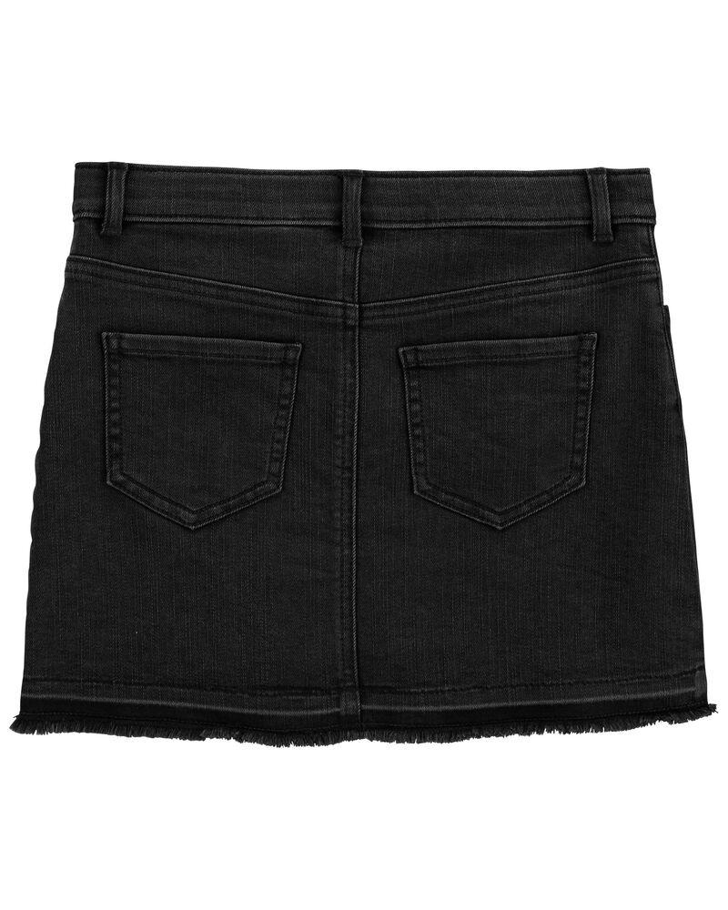 Stretch Denim Skirt in Black Enzyme Wash, , hi-res