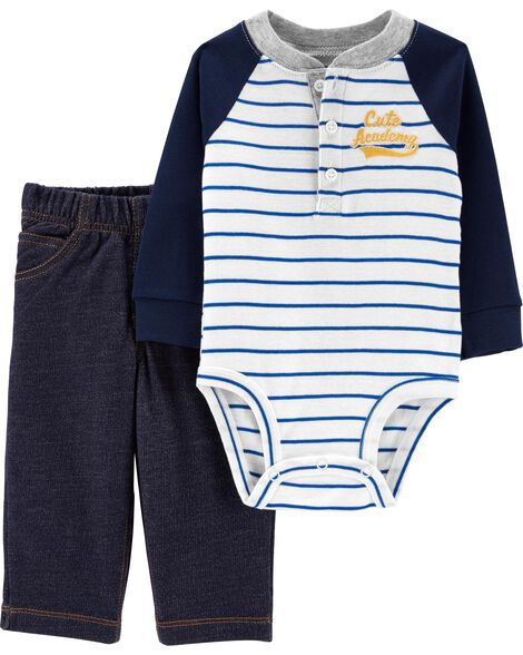 2-Piece Henley Bodysuit Pant Set