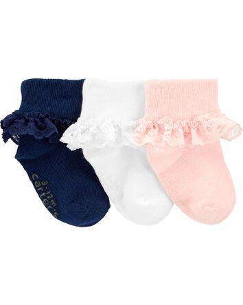 3-Pack Lace Cuff Socks