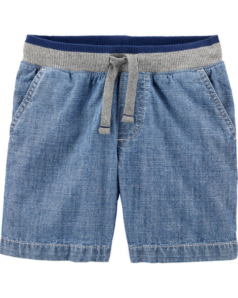 Easy Pull-On Chambray Dock Shorts