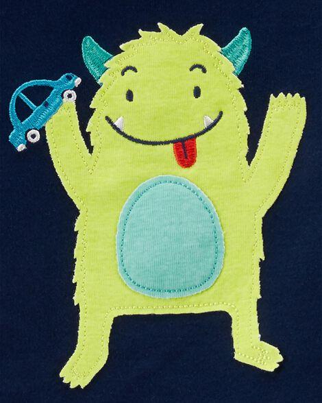 Pyjama 4 pièces en coton ajusté à monstre