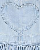 Robe chasuble en denim à poche avec cœur, , hi-res