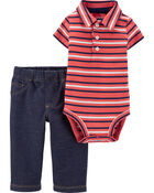2-Piece Striped Polo Bodysuit Pant Set, , hi-res