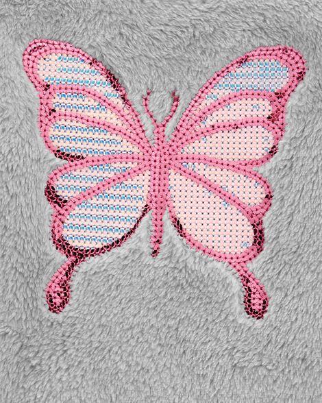 Chandail pelucheux à papillon en paillettes