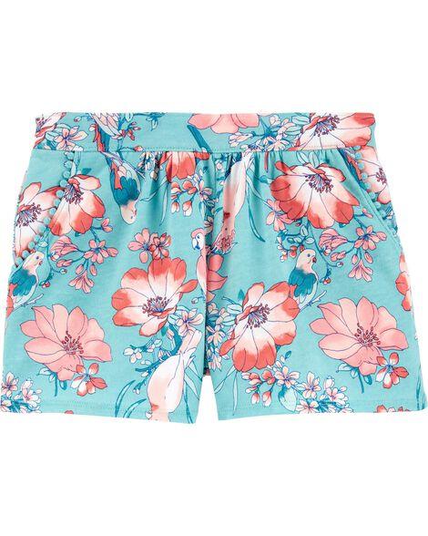 Short à enfiler à poches avec bordure à pompons et motif d'oiseau