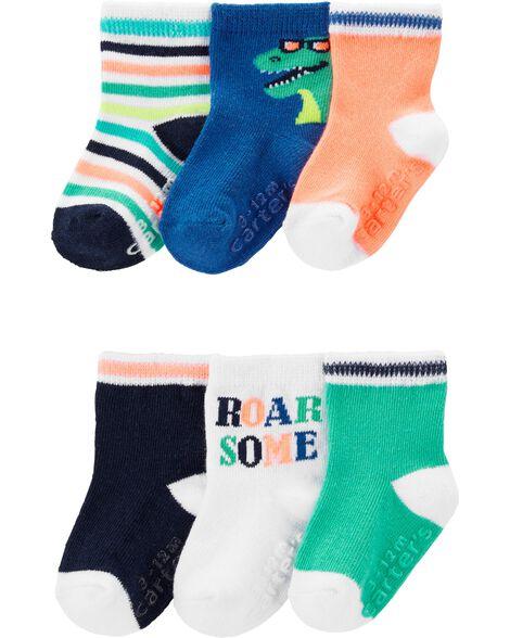 6 paires de chaussettes à motif dinosaure
