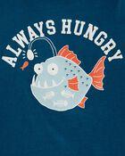 T-shirt en jersey à imprimé de poisson, , hi-res