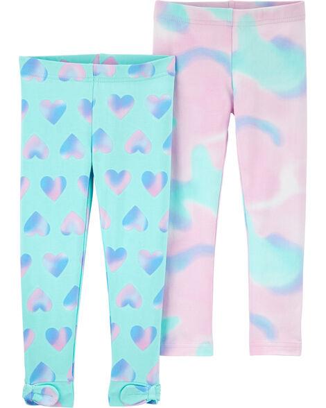 2-Pack Tie-Dye Hearts Leggings