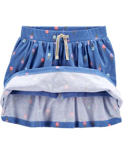 Jupe-short avec motif cornet à crème glacée