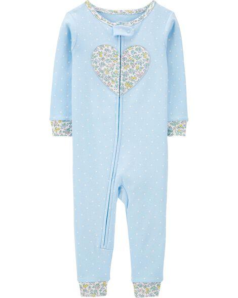 Pyjama 1 pièce sans pieds en coton ajusté motif cœur fleuri