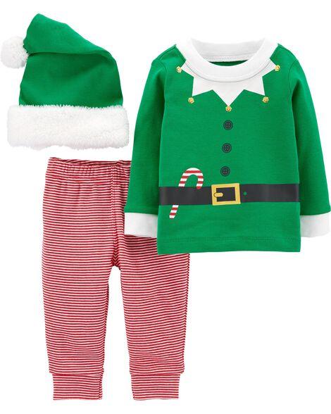 3-Piece Elf Suit & Cap Set