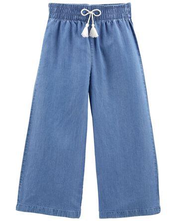 Pantalon à jambe ample en chambray...