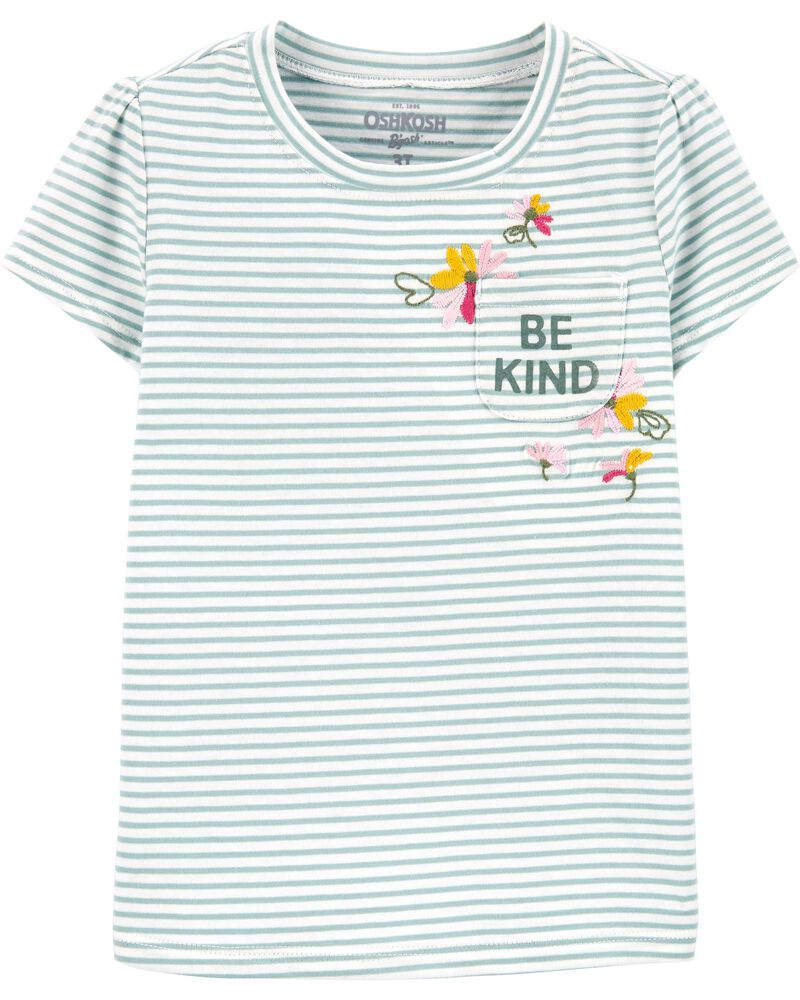 Floral Striped Pocket Tee, , hi-res