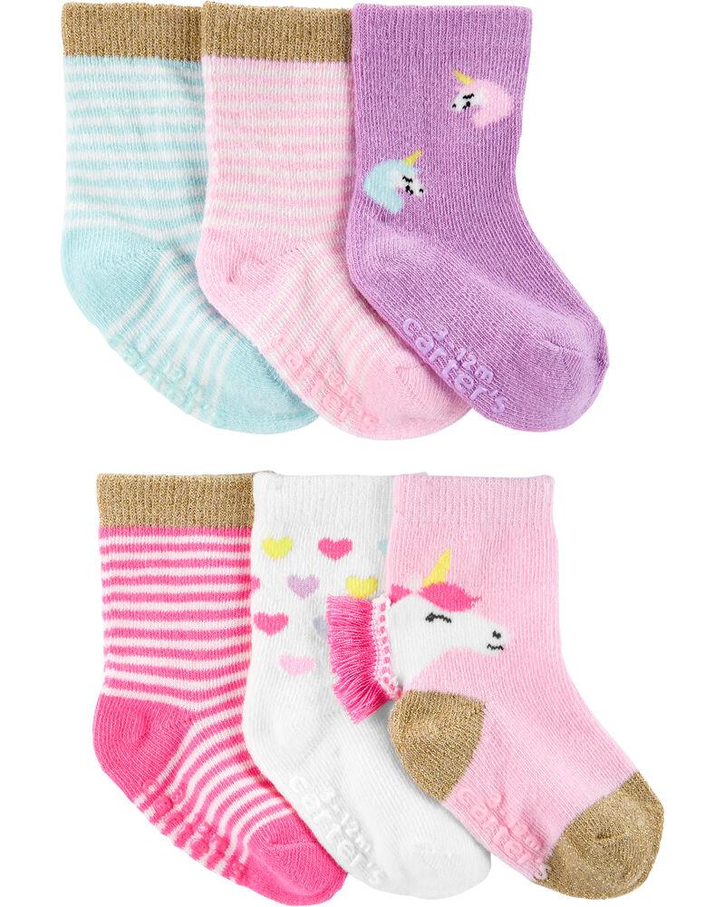 6 paires de chaussettes mi-mollet à licorne, , hi-res