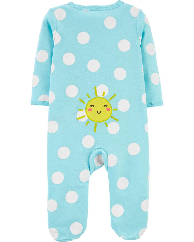 Sun Polka Dot 2-Way Zip Cotton Sleep & Play, , hi-res