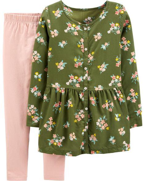 2-Piece Floral Viscose Top & Legging Set