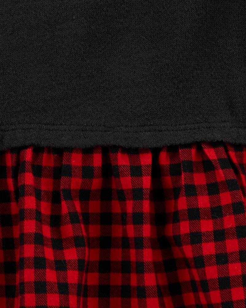 Haut en jersey à basque et motif écossais, , hi-res