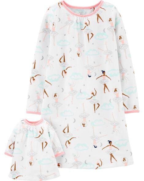 Ballerina Matching Nightgown & Doll Nightgown Set