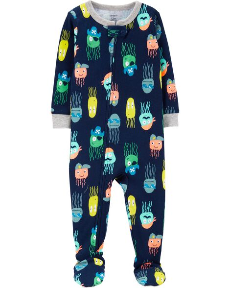 1-Piece Jellyfish Snug Fit Cotton Footie PJs