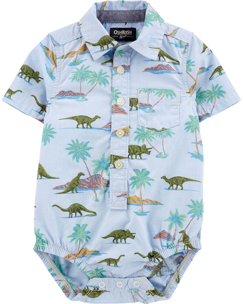 Dinosaur Short Sleeve Button-Front Bodysuit, , hi-res