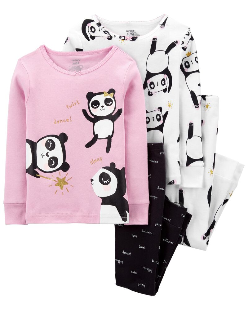 4-Piece Panda 100% Snug Fit Cotton PJs, , hi-res