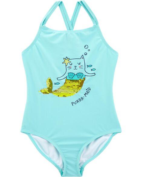 Maillot de bain à chat sirène pailleté