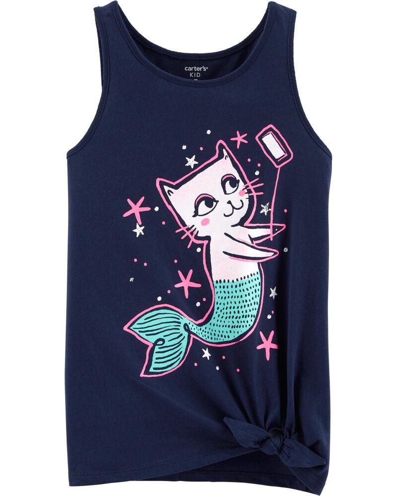 Cat Mermaid Selfie Tie Waist Tee, , hi-res