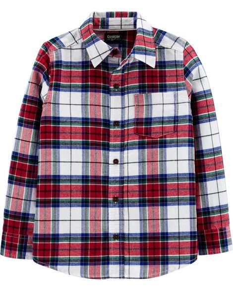 Button-Front Plaid Flannel Shirt