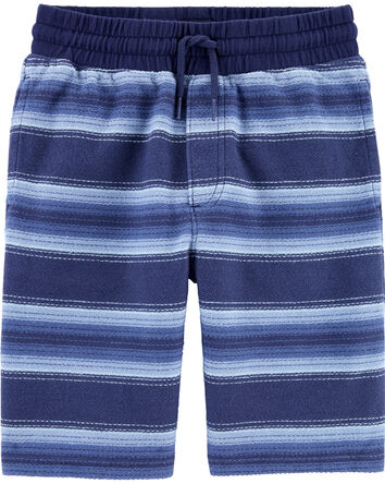 Pull-On Striped French Terry Shorts