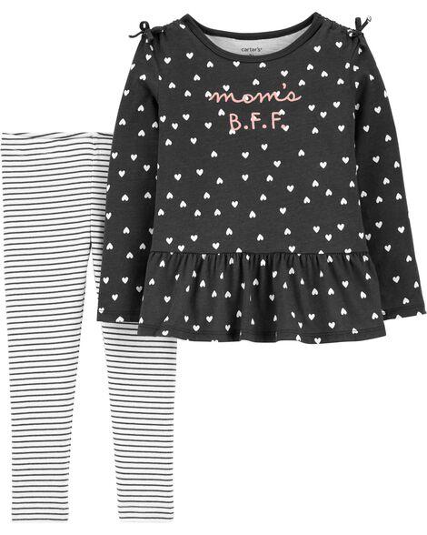 2-Piece Polka Dot Jersey Top & Striped Legging Set