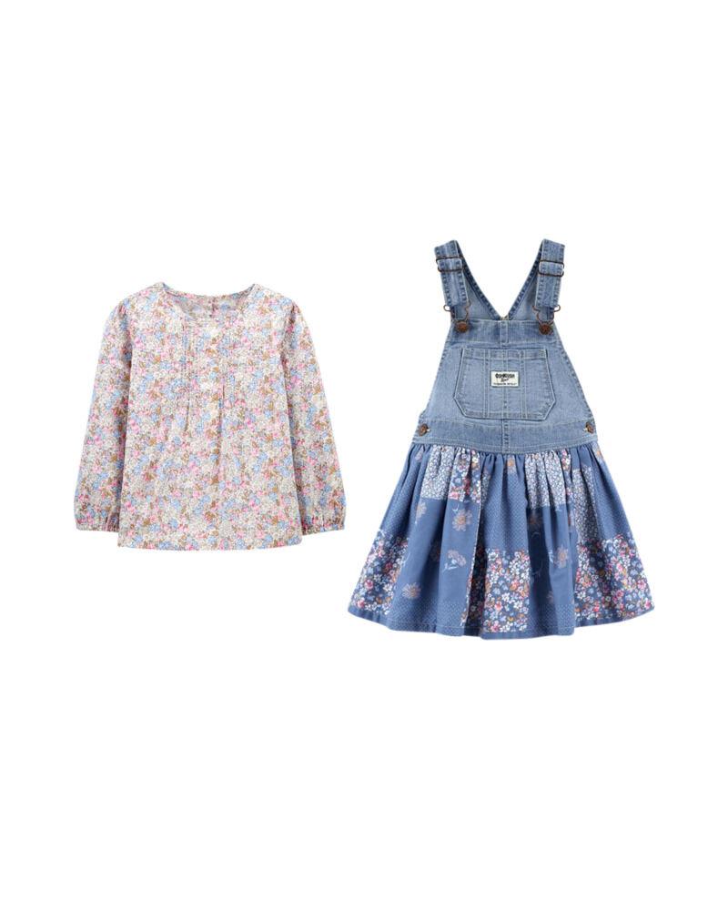 Floral Pintuck Top & Patchwork Denim Jumper Set, , hi-res